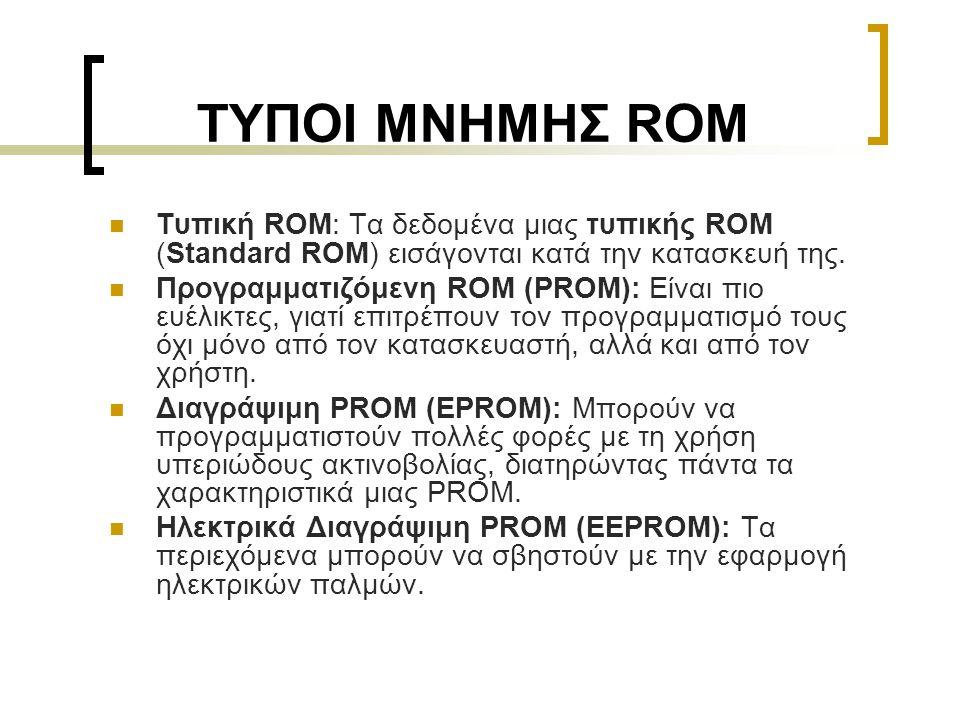 ΤΥΠΟΙ ΜΝΗΜΗΣ ROM Τυπική ROM: Τα δεδομένα μιας τυπικής ROM (Standard ROM) εισάγονται κατά την κατασκευή της.