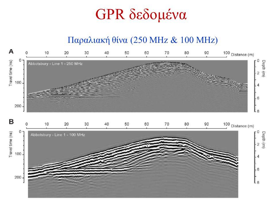 GPR δεδομένα Παραλιακή θίνα (250 MHz & 100 MHz)