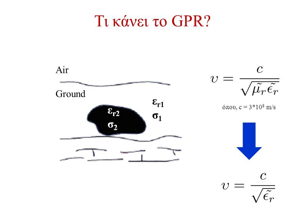 Τι κάνει το GPR εr1 σ1 εr2 σ2 Air Ground όπου, c = 3*108 m/s