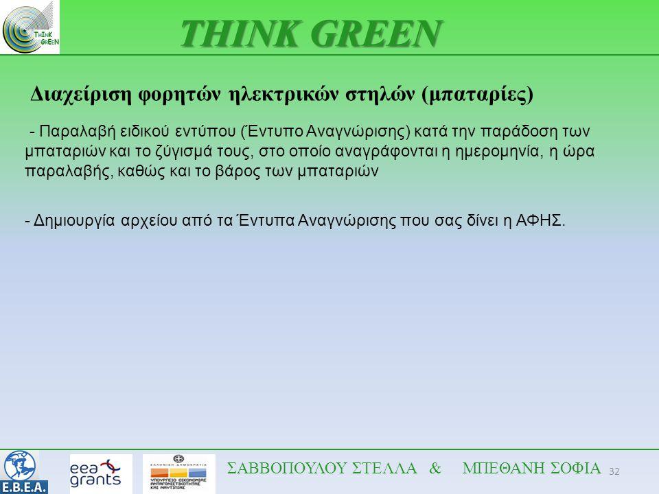 THINK GREEN Διαχείριση φορητών ηλεκτρικών στηλών (μπαταρίες)