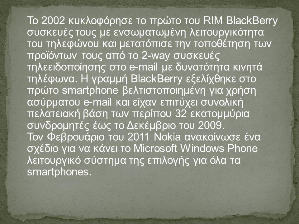 Το 2002 κυκλοφόρησε το πρώτο του RIM BlackBerry συσκευές τους με ενσωματωμένη λειτουργικότητα του τηλεφώνου και μετατόπισε την τοποθέτηση των προϊόντων τους από το 2-way συσκευές τηλεειδοποίησης στο e-mail με δυνατότητα κινητά τηλέφωνα.