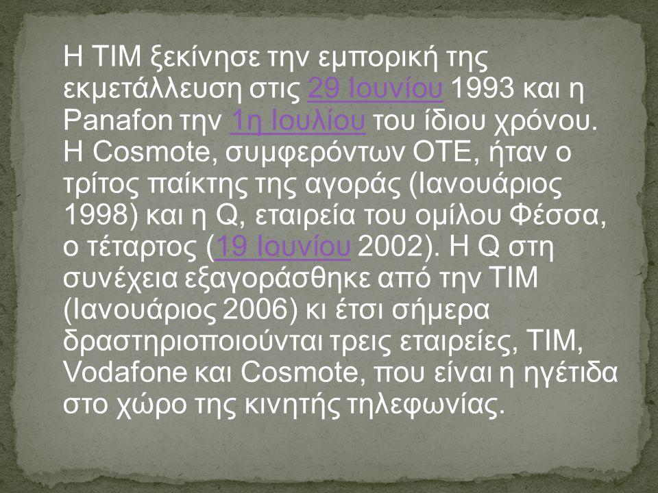 H ΤΙΜ ξεκίνησε την εμπορική της εκμετάλλευση στις 29 Ιουνίου 1993 και η Panafon την 1η Ιουλίου του ίδιου χρόνου.