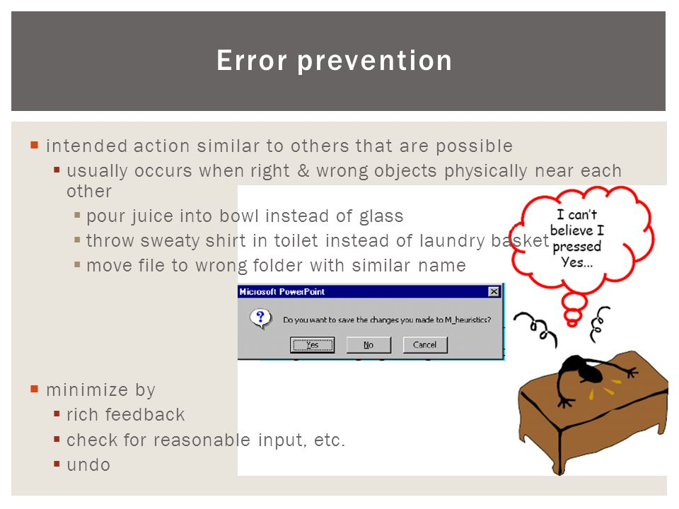 Error prevention intended action similar to others that are possible