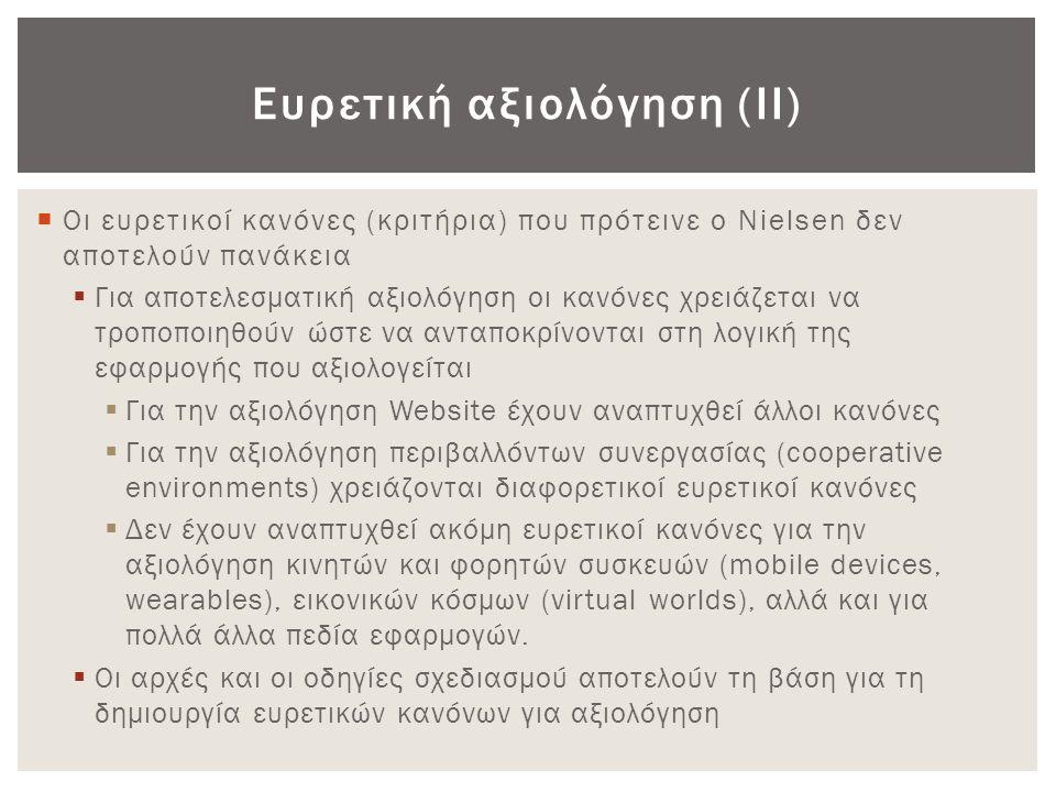 Ευρετική αξιολόγηση (ΙΙ)