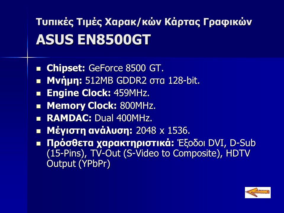 Τυπικές Τιμές Χαρακ/κών Κάρτας Γραφικών ASUS EN8500GT