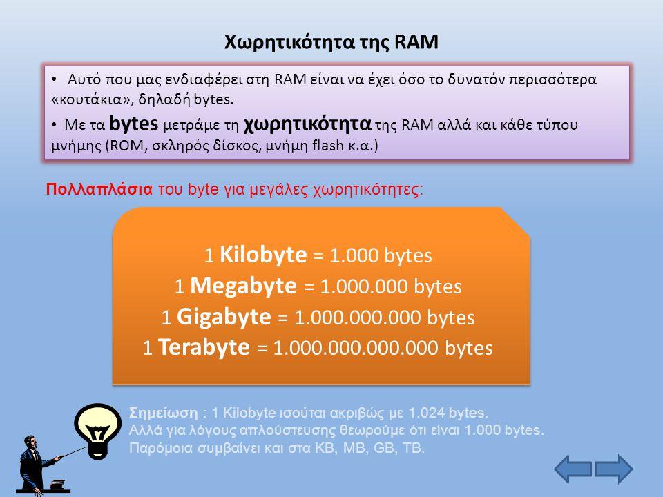 Χωρητικότητα της RAM 1 Kilobyte = 1.000 bytes