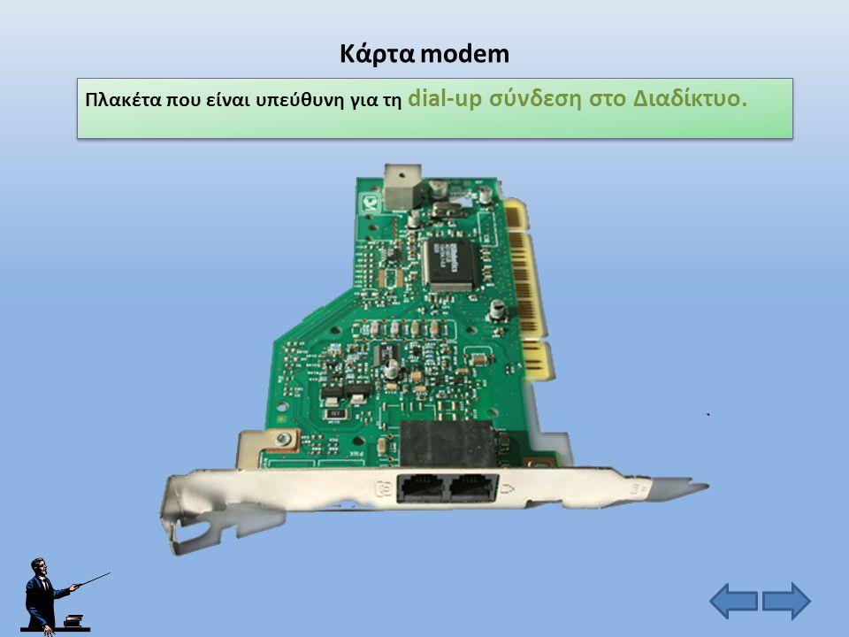 Κάρτα modem Πλακέτα που είναι υπεύθυνη για τη dial-up σύνδεση στο Διαδίκτυο.