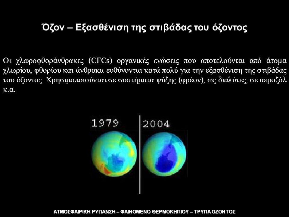Όζον – Εξασθένιση της στιβάδας του όζοντος