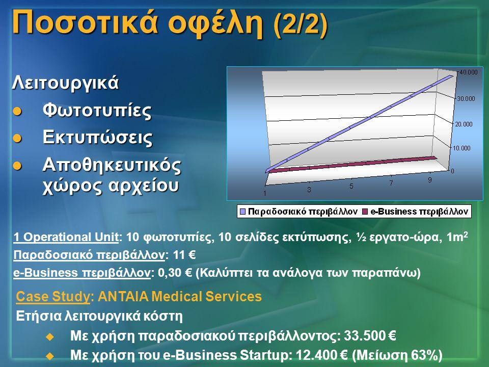 Ποσοτικά οφέλη (2/2) Λειτουργικά Φωτοτυπίες Εκτυπώσεις