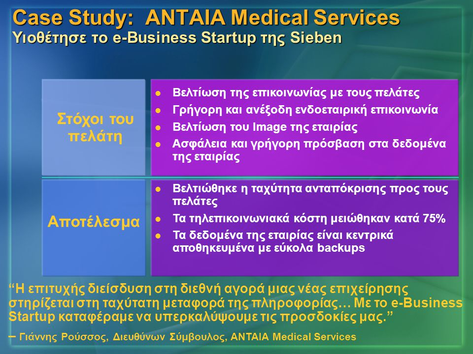 Case Study: ΑΝΤΑΙΑ Medical Services Υιοθέτησε το e-Business Startup της Sieben