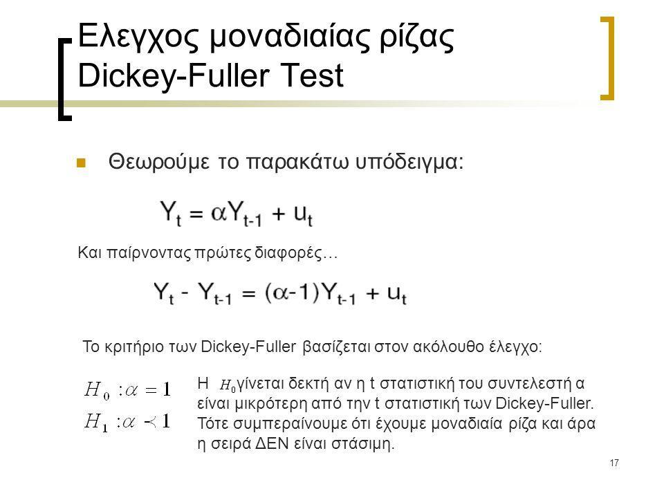Ελεγχος μοναδιαίας ρίζας Dickey-Fuller Test