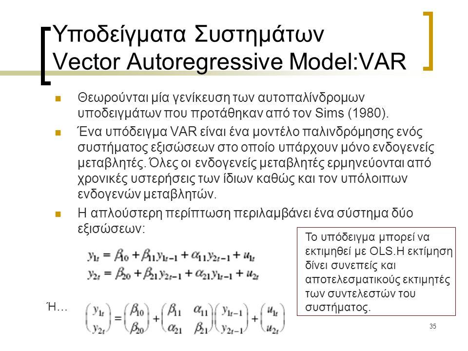 Υποδείγματα Συστημάτων Vector Autoregressive Model:VAR