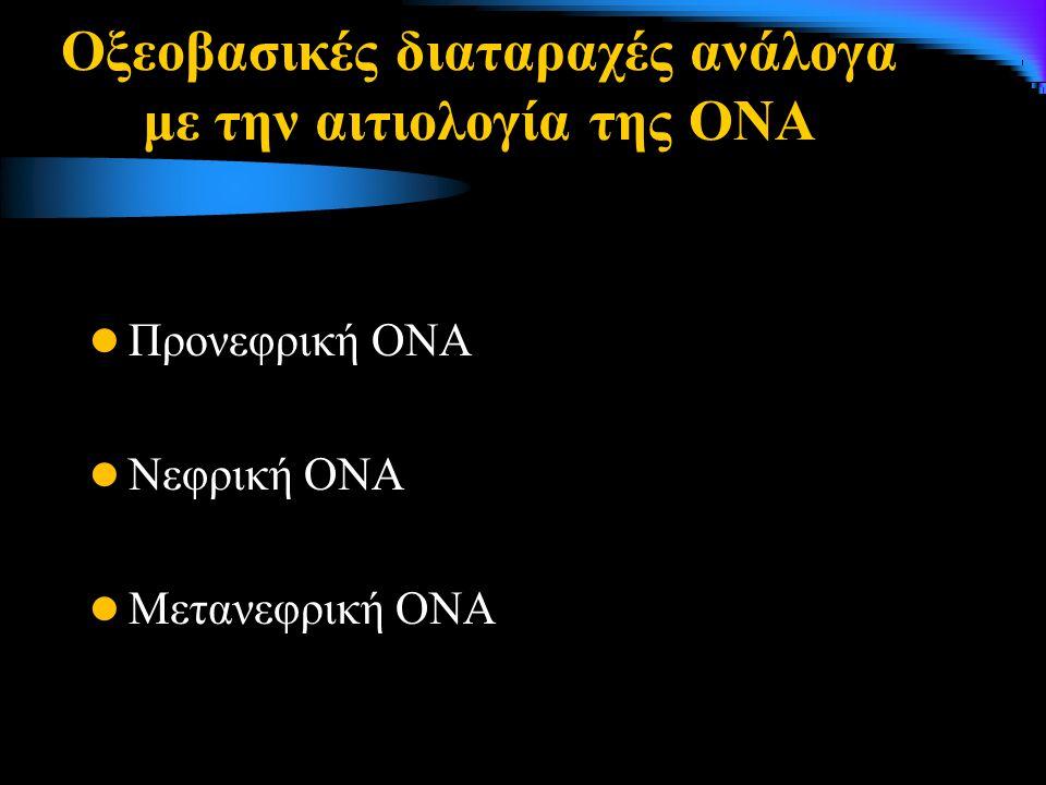 Οξεοβασικές διαταραχές ανάλογα με την αιτιολογία της ΟΝΑ