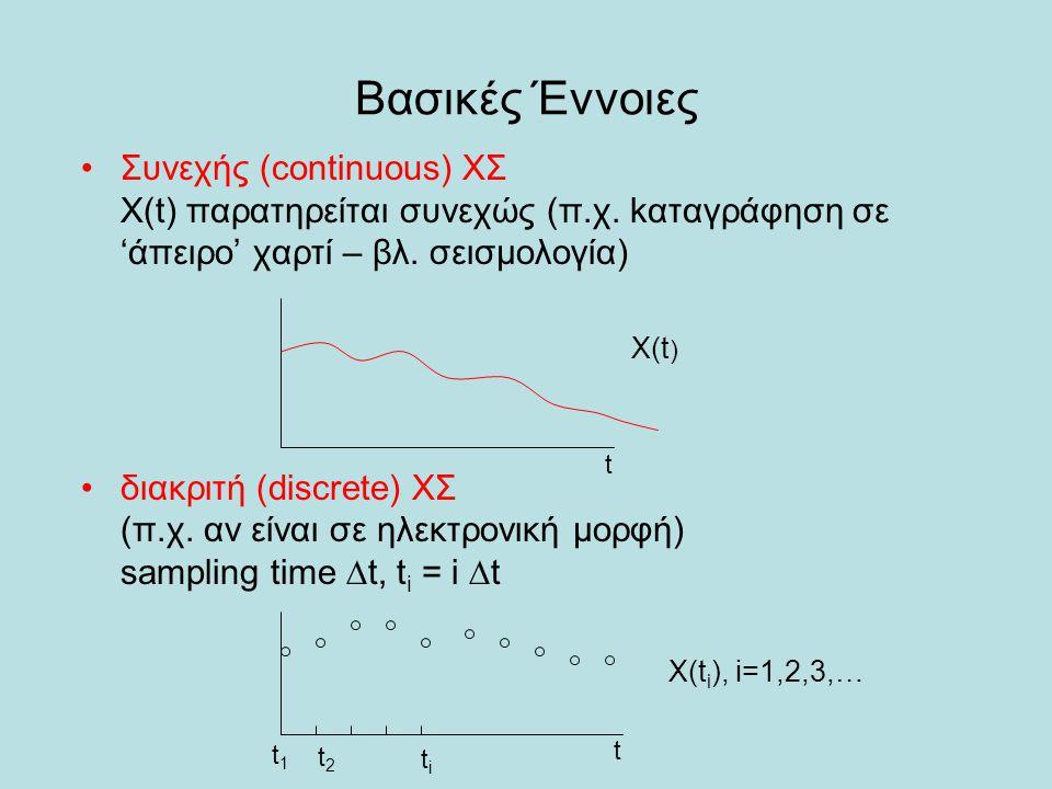 Βασικές Έννοιες Συνεχής (continuous) ΧΣ X(t) παρατηρείται συνεχώς (π.χ. kαταγράφηση σε 'άπειρο' χαρτί – βλ. σεισμολογία)