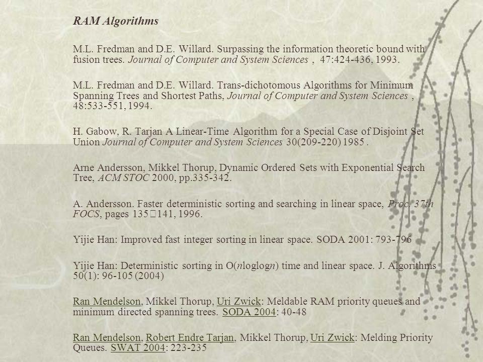 RAM Algorithms