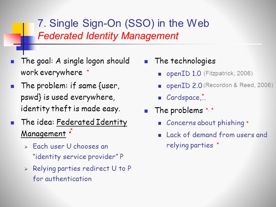 7. Single Sign-On (SSO) in the Web Federated Identity Management