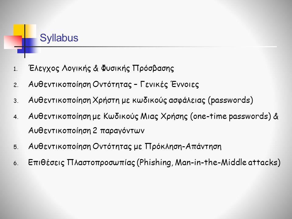 Syllabus Έλεγχος Λογικής & Φυσικής Πρόσβασης