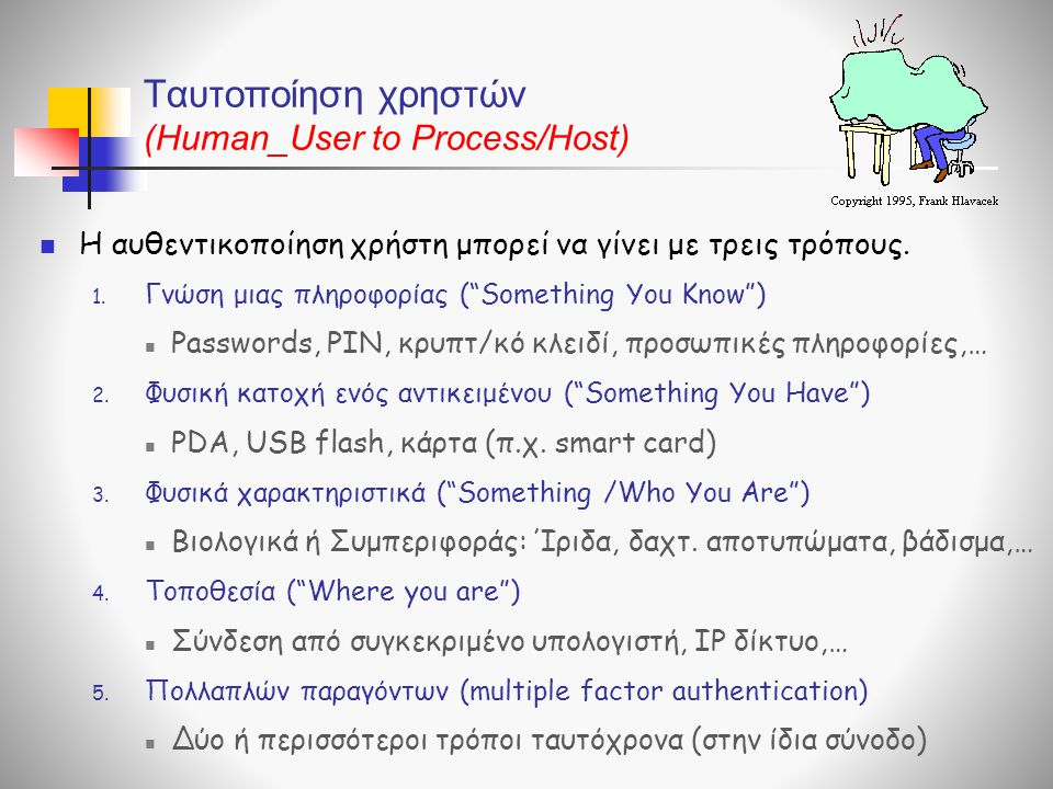 Ταυτοποίηση χρηστών (Human_User to Process/Host)