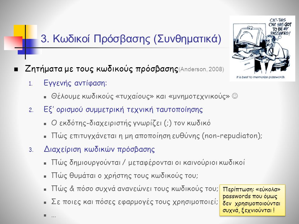 3. Κωδικοί Πρόσβασης (Συνθηματικά)