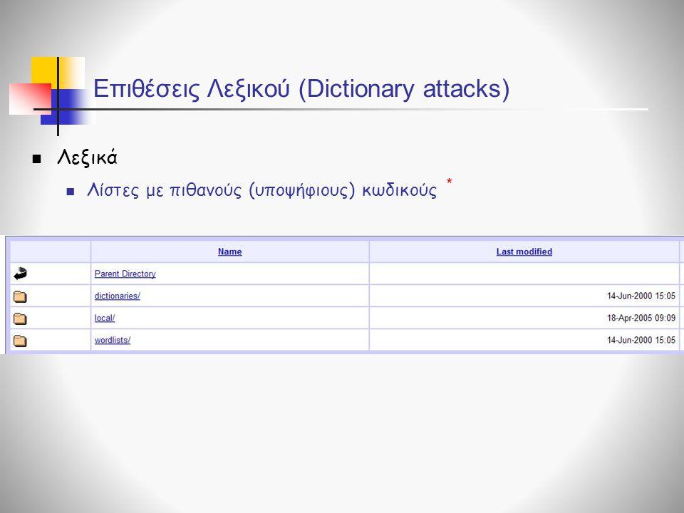 Επιθέσεις Λεξικού (Dictionary attacks)