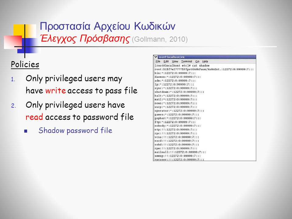 Προστασία Αρχείου Κωδικών Έλεγχος Πρόσβασης
