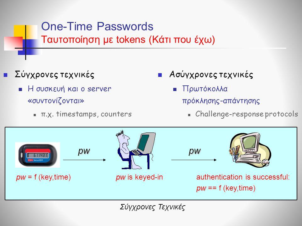 One-Time Passwords Ταυτοποίηση με tokens (Κάτι που έχω)