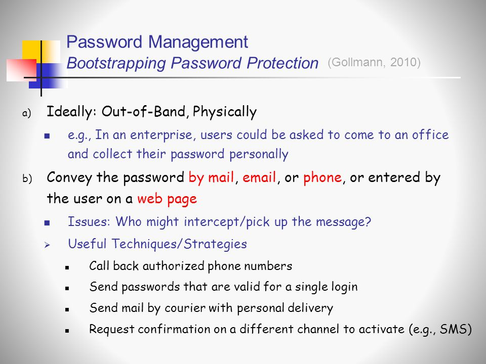 Password Management Bootstrapping Password Protection