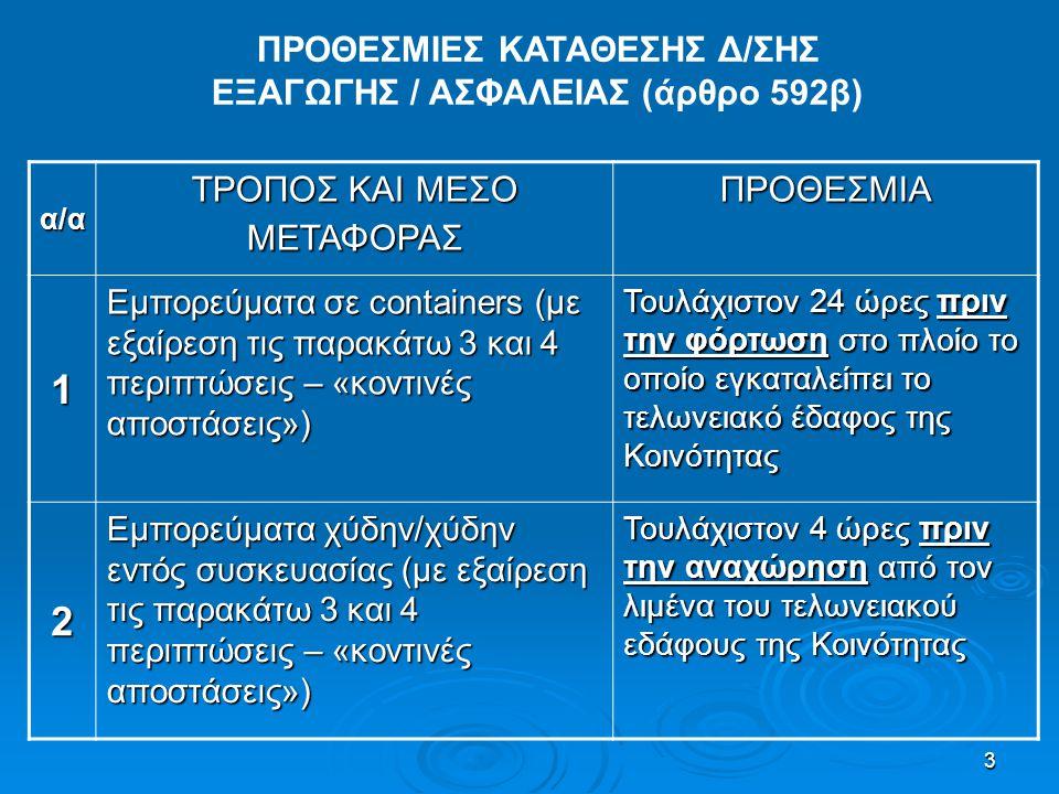 ΠΡΟΘΕΣΜΙΕΣ ΚΑΤΑΘΕΣΗΣ Δ/ΣΗΣ ΕΞΑΓΩΓΗΣ / ΑΣΦΑΛΕΙΑΣ (άρθρο 592β)