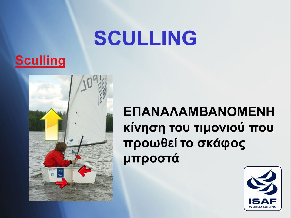 SCULLING Sculling ΕΠΑΝΑΛΑΜΒΑΝΟΜΕΝΗ κίνηση του τιμονιού που προωθεί το σκάφος μπροστά