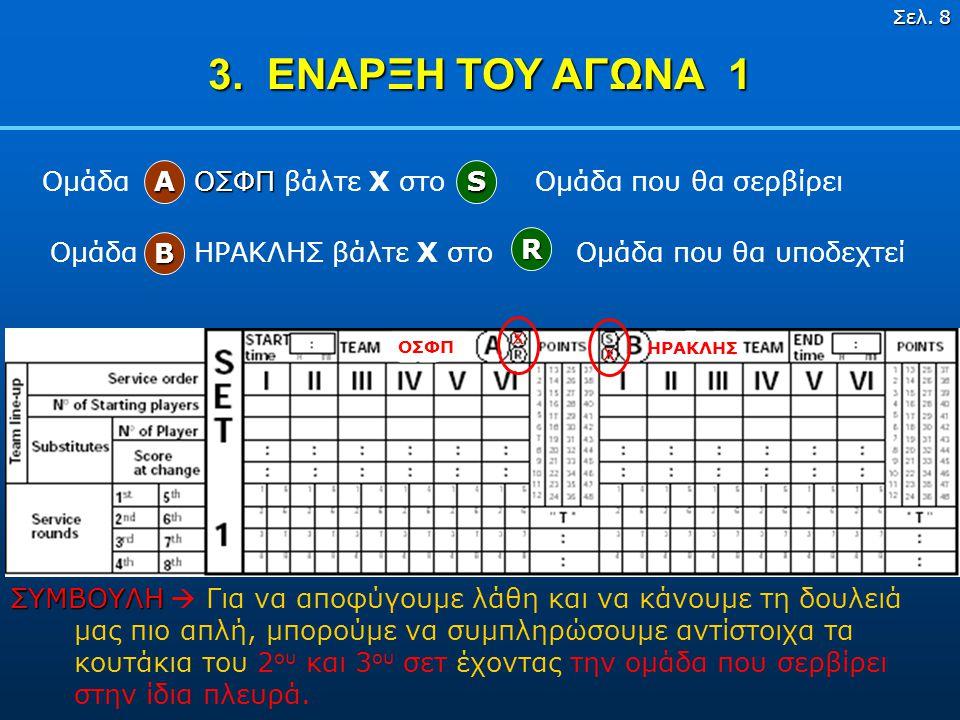 3. ΕΝΑΡΞΗ ΤΟΥ ΑΓΩΝΑ 1 Ομάδα ΟΣΦΠ βάλτε X στο Ομάδα που θα σερβίρει S A