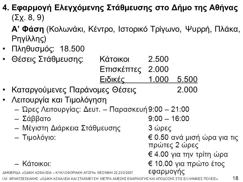 4. Εφαρμογή Ελεγχόμενης Στάθμευσης στο Δήμο της Αθήνας (Σχ. 8, 9)