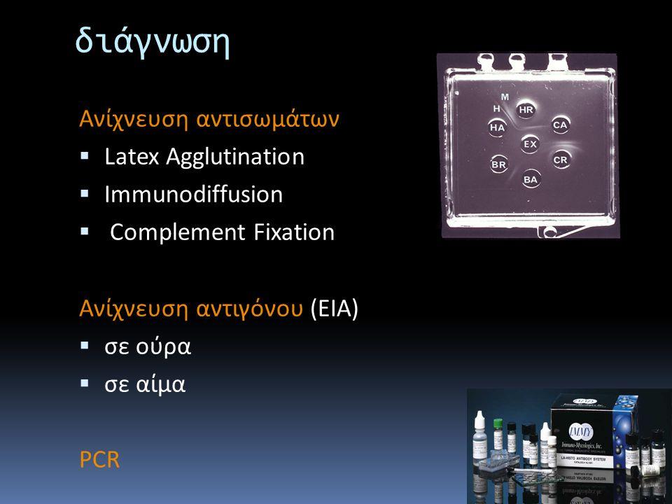 διάγνωση Ανίχνευση αντισωμάτων Latex Agglutination Immunodiffusion