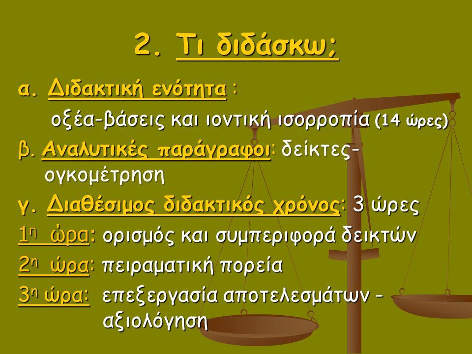2. Τι διδάσκω; α. Διδακτική ενότητα :