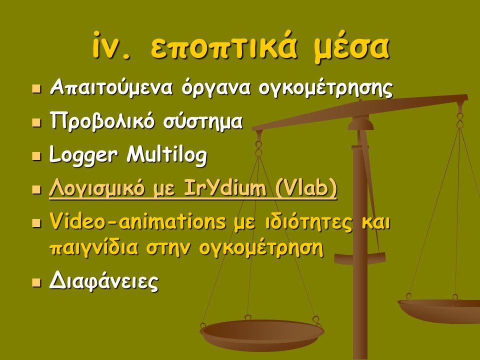 iv. εποπτικά μέσα Απαιτούμενα όργανα ογκομέτρησης Προβολικό σύστημα