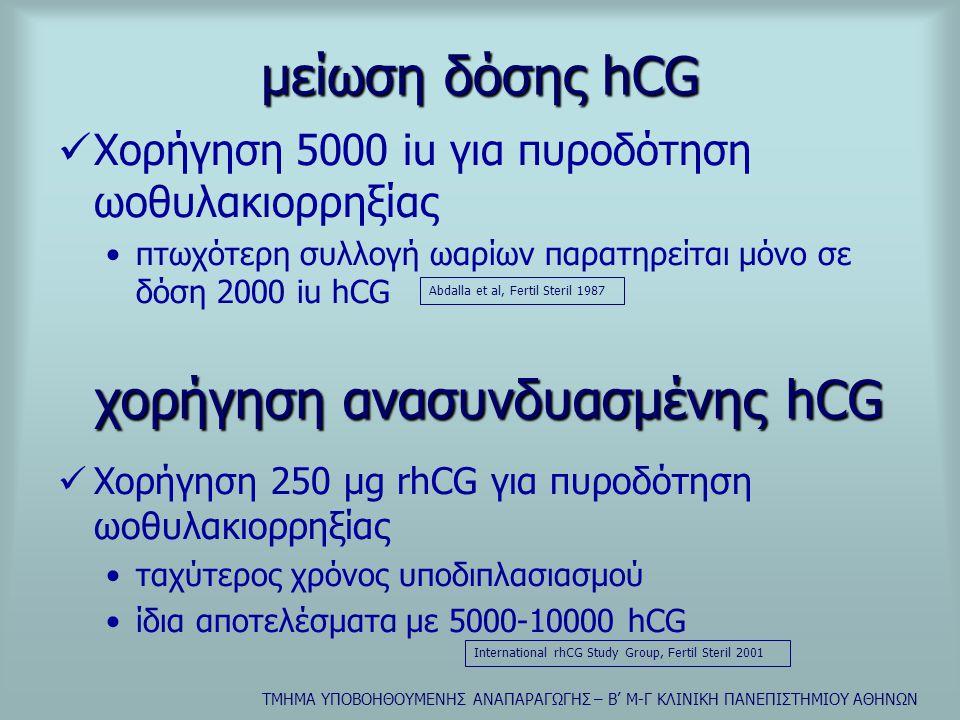χορήγηση ανασυνδυασμένης hCG