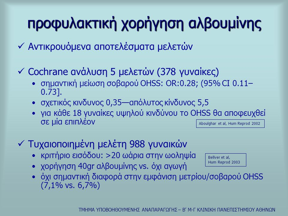 προφυλακτική χορήγηση αλβουμίνης