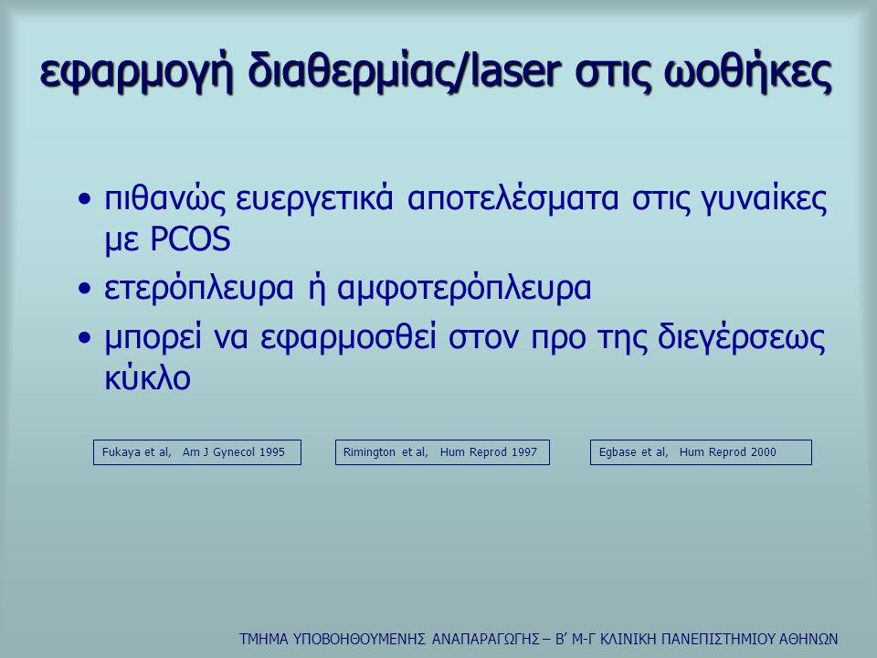 εφαρμογή διαθερμίας/laser στις ωοθήκες