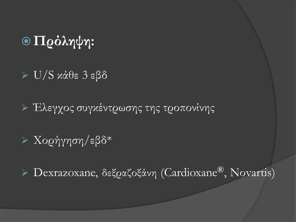 Πρόληψη: U/S κάθε 3 εβδ Έλεγχος συγκέντρωσης της τροπονίνης