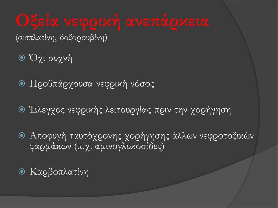 Οξεία νεφρική ανεπάρκεια (σισπλατίνη, δοξορουβίνη)