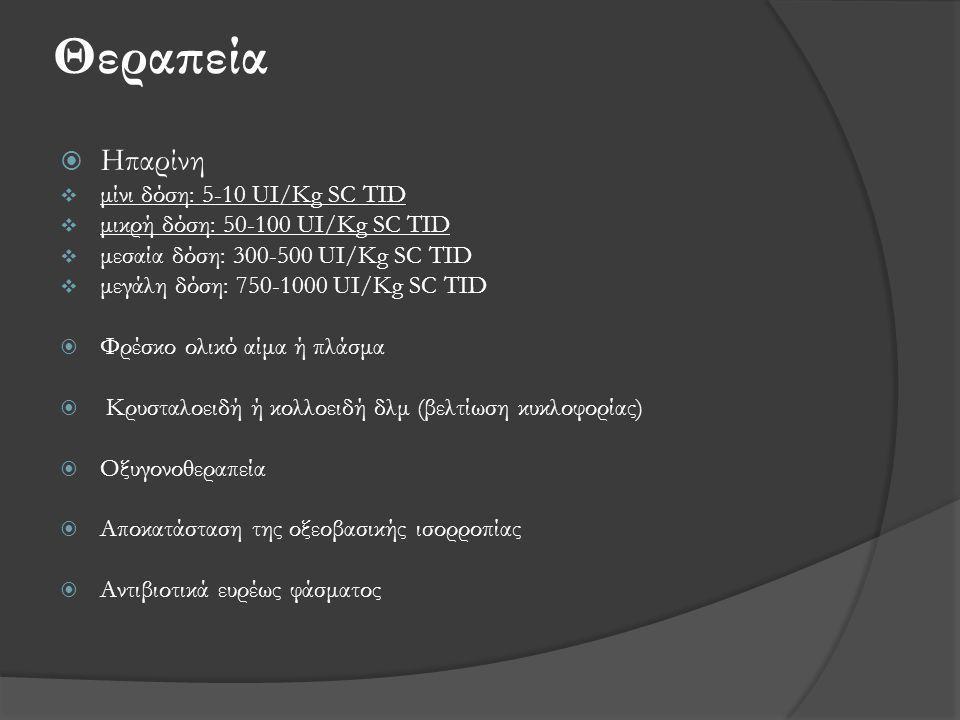 Θεραπεία Ηπαρίνη μίνι δόση: 5-10 UI/Kg SC TID