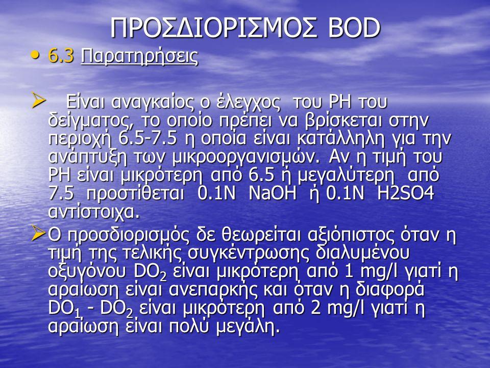 ΠΡΟΣΔΙΟΡΙΣΜΟΣ BOD 6.3 Παρατηρήσεις