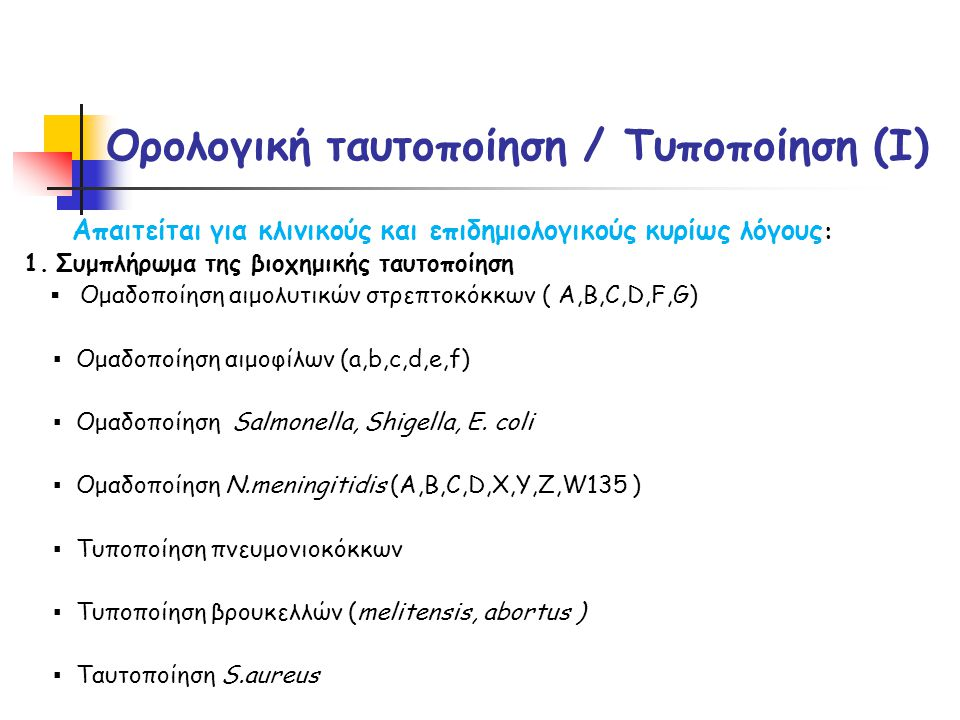 Ορολογική ταυτοποίηση / Τυποποίηση (I)