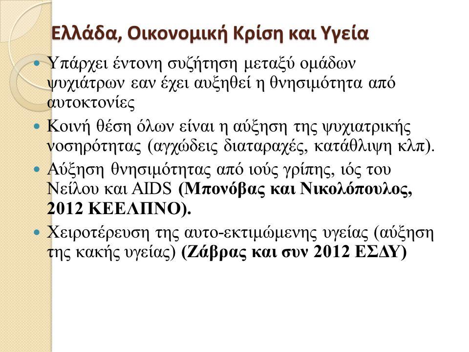 Ελλάδα, Οικονομική Κρίση και Υγεία