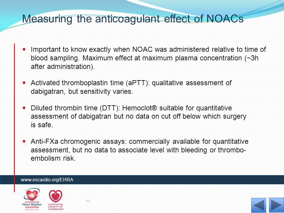 Measuring the anticoagulant effect of NOACs