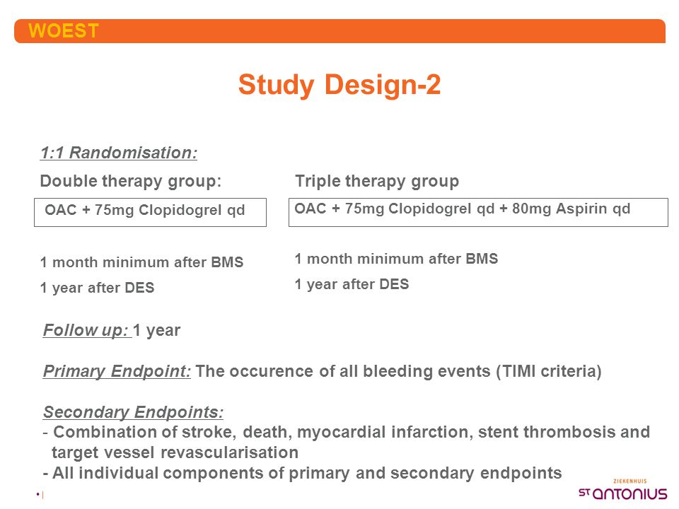 Study Design-2 WOEST 1:1 Randomisation: Double therapy group: