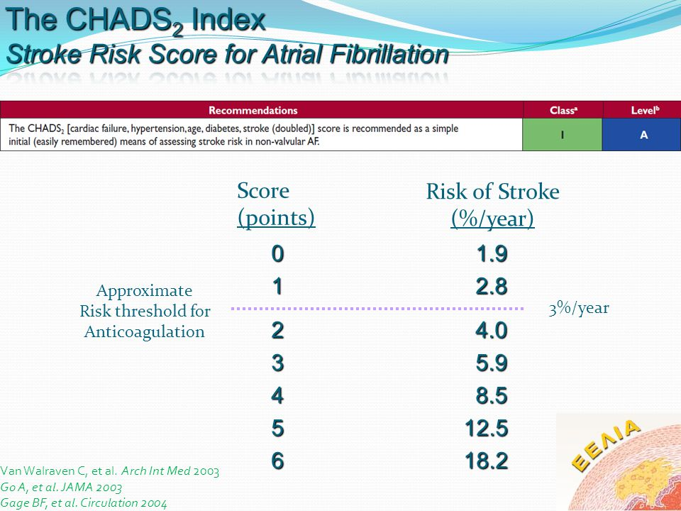 The CHADS2 Index Stroke Risk Score for Atrial Fibrillation Score