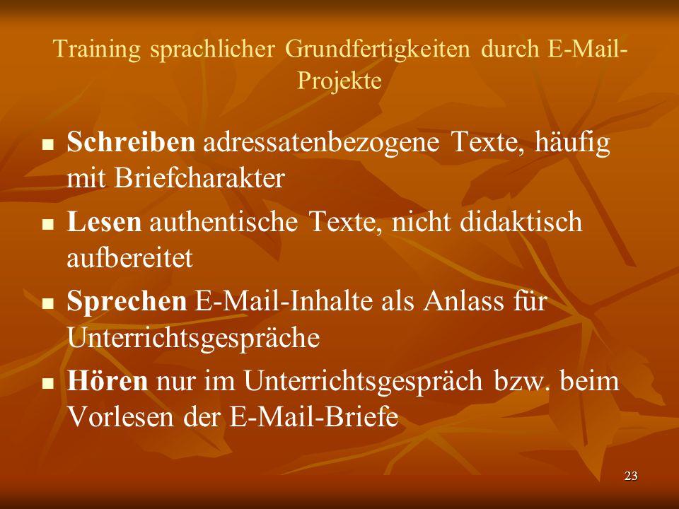 Training sprachlicher Grundfertigkeiten durch E-Mail-Projekte