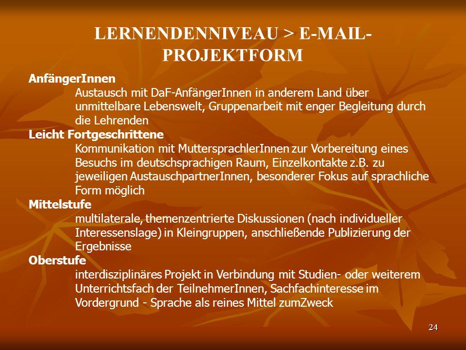 LERNENDENNIVEAU > E-MAIL-PROJEKTFORM