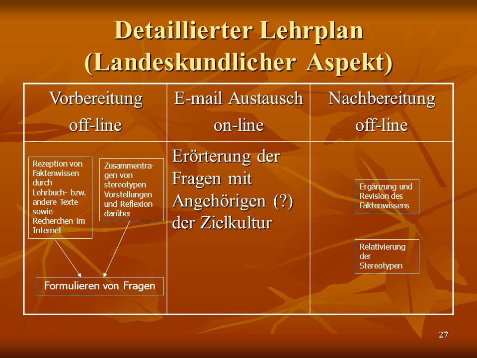 Detaillierter Lehrplan (Landeskundlicher Aspekt)