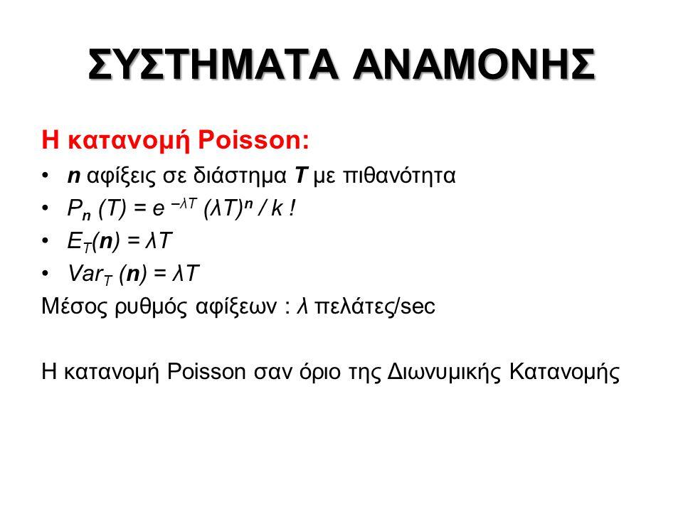 ΣΥΣΤΗΜΑΤΑ ΑΝΑΜΟΝΗΣ Η κατανομή Poisson: